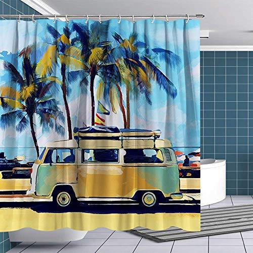 CICIDI Duschvorhang Retro Tour Bus am Sandstrand Duschvorhang mit Haken Lustig Stoff Badezimmer Vorhang-Sets VW Bus Badezimmer Dekorationen mit 12 Haken 183 x 183 cm