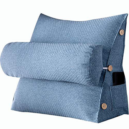LIQICAI Almohada De Lectura, Soporte para La Espalda Soporte De Posicionamiento De Tela Mezclada para Sala De Estar, 4 Colores, 16 Tamaños Opcionales (Color : Blue, Size : 58x22x50cm)