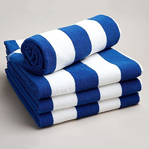 Sunshine Comforts Chlorine Resistant Pool/Beach Towel (Blue and White Stripe) 1, 2, 3, & Packs (Pack of 2, Blue & White Stripes)
