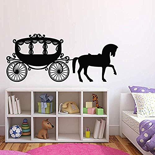 Muursticker Muursticker Meisjes kamer decor wagen prinses paard muursticker schattige kinderkamer muurschildering wagen muurtattoos Princess Style muurkunst 132x57cm
