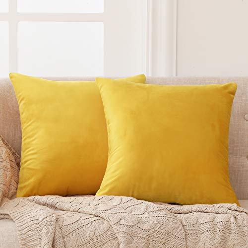 Deconovo Fundas para Cojines de Almohada del Sofá Cubierta Suave Decorativa Protector para Hogar 2 Piezas 50 x 50 cm Amarillo Claro