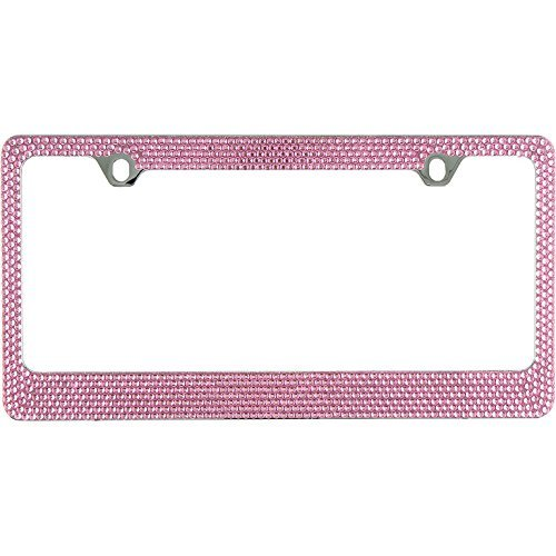 BLVD-LPF.COM Inc. Popular Bling 7 Row Pink Color Crystal Metal Chrome License Plate Frame with Screw Caps - 1 Frame