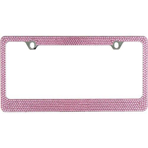 BLVD-LPF.COM Inc. Popular Bling 7 Row Pink Color Crystal Metal Chrome License Plate Frame with Screw Caps - 1 Frame