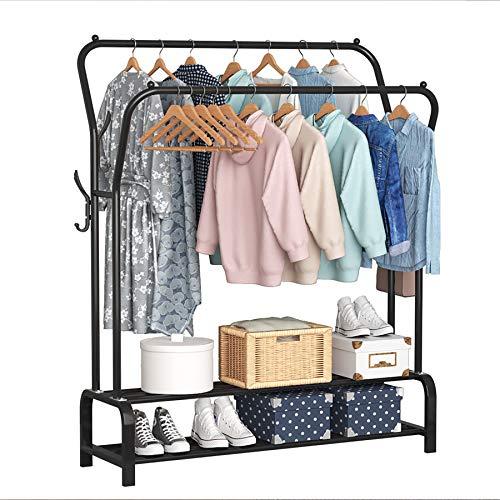 YAYI Garment Rack Drying Rack Freestanding Hanger Double Rails Bedroom Clothing Rack With 2-Tier Lower Storage Shelf,Black