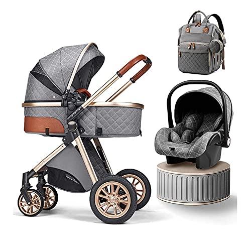 Carrito de cochecito 3 en 1 Cochecito plegable Travel Systems s Cochecito de bebé High Landscape Antigolpes Cochecito de bebé recién nacido Cochecito Organizador de silla de paseo Funda de lluvia Bol