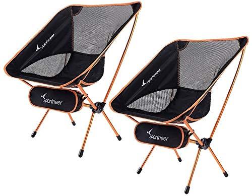 Sportneer Campingstuhl, Tragbar Leicht Faltbar Camping Stuhl bis zu 150 kg für Backpacking/Wandern/Picknick/Fische (2)