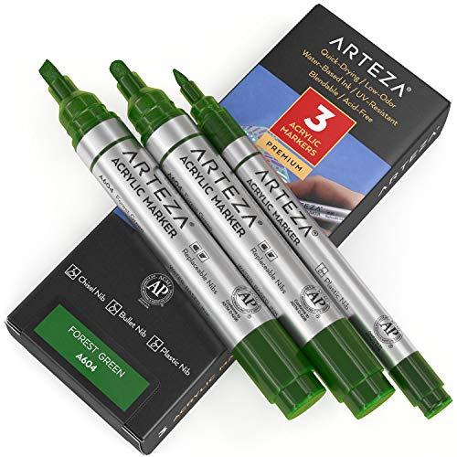 Arteza Rotuladores para pintar, pack de 3, A603 Verde Bosque, 1 rotulador punta fina y 2 de punta gruesa (cincel y bala), acrílico para metal, lienzo, piedra, cerámica, vidrio, madera y tela