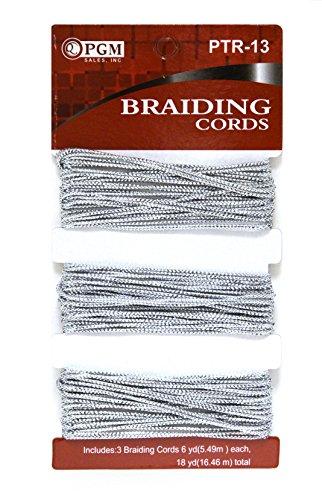 MayaBeauty PGM Hair Braiding Cords Silver 3 Pack