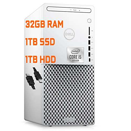 Flagship Dell XPS 8940 Special Edition Gaming Tower Desktop 10th Gen Intel Hexa-Core i5-10400 (Beat i7-8700T) 32GB RAM 1TB SSD + 1TB HDD Radeon RX 5300 3GB Wifi5 DVD-RW Win10 + iCarp HDMI Cable