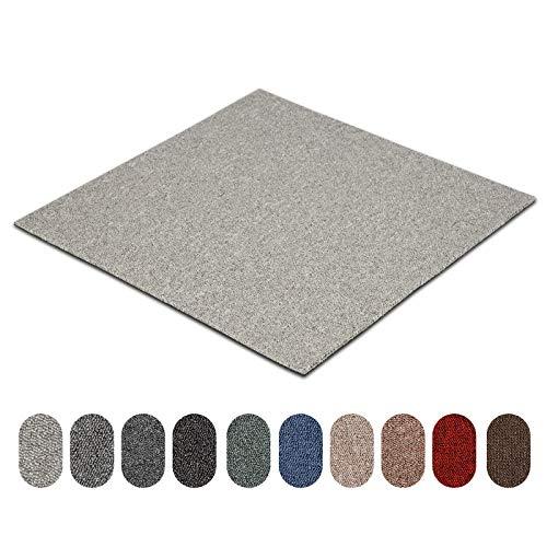 Teppichfliesen Astra | selbstliegend | Strapazierfähig und pflegeleicht | Bodenbelag für Büro und zu Hause | 50x50 cm | Erhältlich in vielen Farben (Silber 74)