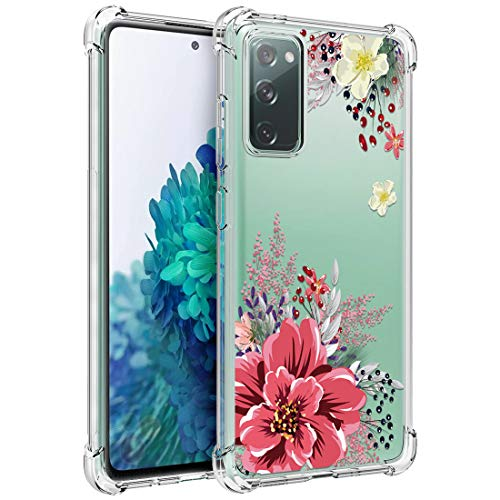 Osophter for GalaxyS20FE5G Case Clear Transparent Reinforced Corners TPU Shock-Absorption Flexible Cell Phone Cover for Samsung GalaxyS20FE5G(Red Flower)