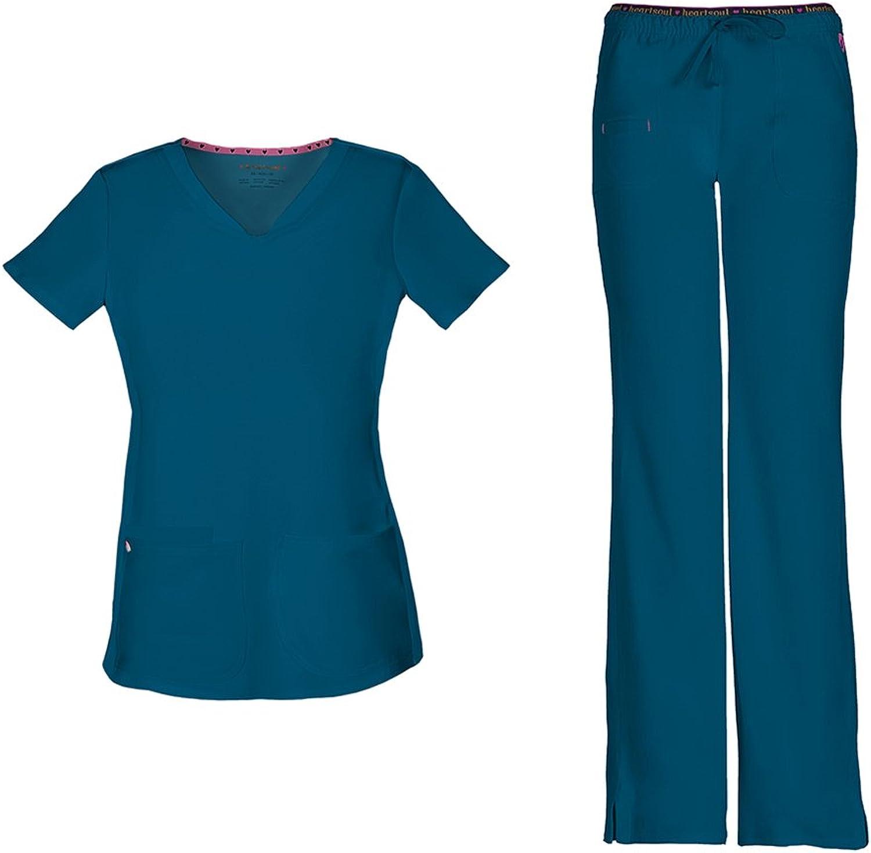 HeartSoul Women's PitterPat Shaped VNeck Top 20710 & Heartbreaker Drawstring 20110 Pant Scrub Set