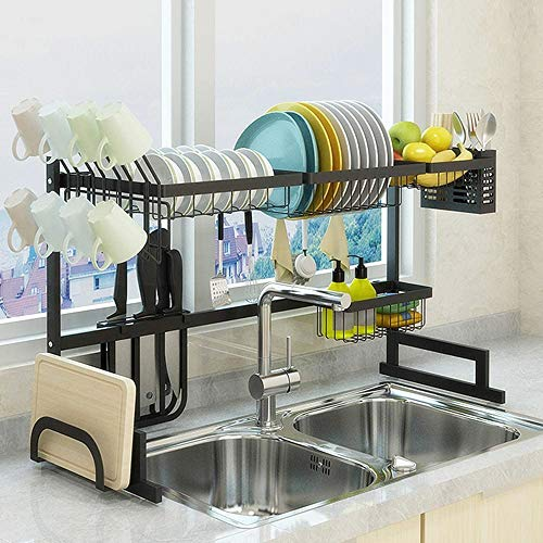 Beaugreen Dish Rack Over Sink Dish Drying Rack Kitchen Stainless Steel Over The Sink Shelf Storage Rack with Cup Holders Organizers Space Saver Display Stand(Black)