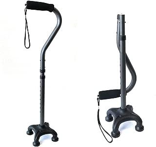 Ez2care Adjustable Lightweight Folding Quad Cane, Metallic Black