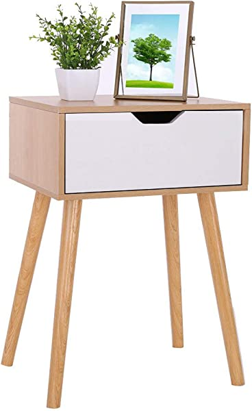 Clearance Sale Assemble Storage Cabinet Bedroom Bedside Locker Double Drawer Nightstand Alalaso Ship From USA
