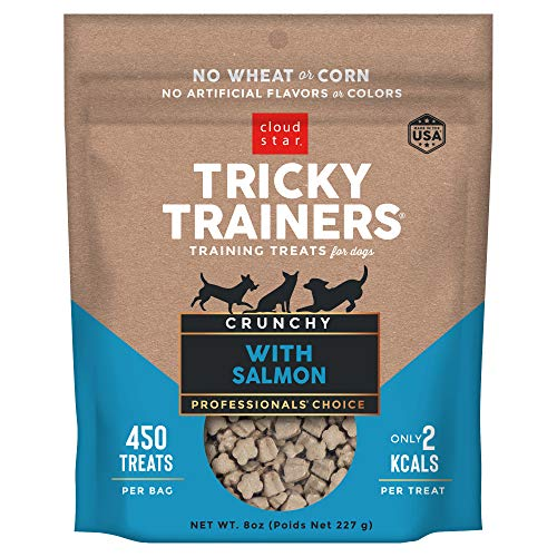 Cloud Star Tricky Trainers Crunchy, Low Calorie Training Dog Treats, Made In the USA, Wheat & Corn Free, Salmon 8 oz.