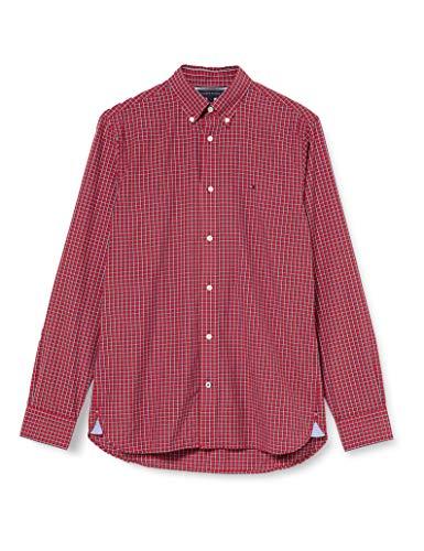 Tommy Hilfiger Micro Buffalo Check Shirt Camisa, Rojo, S para Hombre