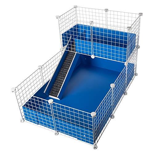 CagesCubes - Jaula CyC Deluxe (Base 2X3 + Loft 2x1 - Panel Blanco) + Base de Coroplast en Azul para cobayas