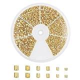 PandaHall Elite 3000 Pcs 3 Sizes Brass Tube Crimp Beads Cord End Caps Diameter 1.5mm 2mm 2.5mm for Bracelet Neckalce Jewelry Making Golden