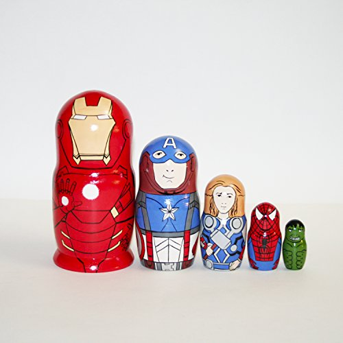 Collectible Nistkasten Puppen Super Heroes Matrjoschka russische Puppe unterzeichnet handbemalt