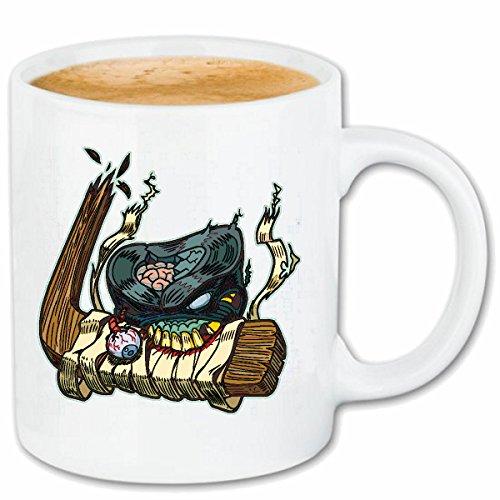Reifen-Markt Kaffeetasse Monster BEIST IN EISHOCKEYSCHLÄGER Eishockey Eishockeyspieler EISHOCKEYMANNSCHAFT EISSPORTHALLE Schlittschuhlaufen PUK GEBISS HOLZSCHLÄGER K