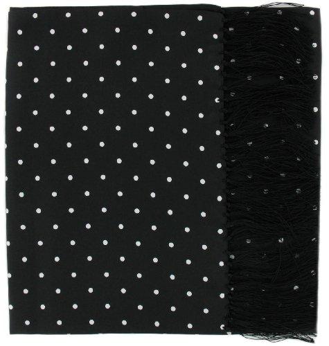 Noir Large écharpe à pois en soie de Michelsons of London