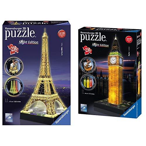 Ravensburger 125791 Eiffelturm bei Nacht Puzzle 3D-Puzzle Bauwerk Night Edition, 216 Teile &  12588 3D-Puzzle Big Ben bei Nacht