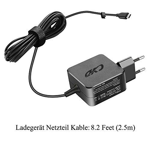 QYD 65W Netzteil USB TYPE C PD Ladegerät für Lenovo ThinkPad X1 2017 Yoga 720 910 920 Samsung Galaxy A5 DELL Xps12 XPS13 DA30NM150 Razer Blade Stealth 2.5m Laptop ladekabel Power AC Adapter Cord Kable