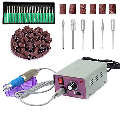 Fang Shan - Kit de taladro eléctrico para uñas acrílicas, uñas de gel, pulidor de uñas con brocas de uñas y bandas de lijado