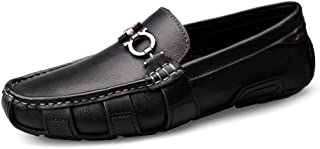 Xujw-shoes, Mens Loafers Leather Black White Shoes for Men Driving Loafers Boat Moccasins Slip On Style OX Leather British Style Metaldecor Simple Classic Breathable