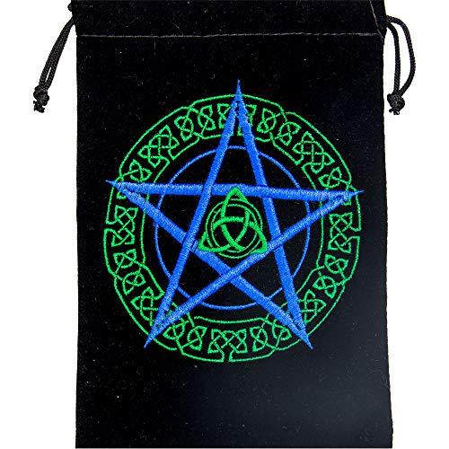 5x7 Unlined Velvet Bag with Embroidered Celtic Pentacle Design Tarot Card Bag