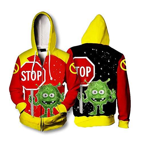 Hoodeds sweater Felpe con Cappuccio COVID-19 Virus Fumetti Maglione 3D Stampa Giacche Cerniera Giacche Sweatshirts M