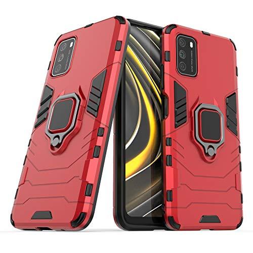 Funda Magnética para móvil Xiaomi Poco M3 / Redmi 9T con Anillo Metálico Giratorio Carcasa Protectora Antigolpes Original Híbrida Rígida Resistente Doble Dura Antichoque (Xiaomi Poco M3, Rojo)