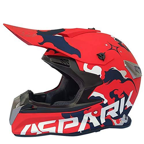 MMGIRLS DOT-zertifizierter Motorrad-Downhill-Helm für Erwachsene für Bergrennen, Männer und Frauen, Vier Jahre im Gelände (einschließlich Helm, Maske, Schutzbrille, Handschuhe, 4 Stück),S