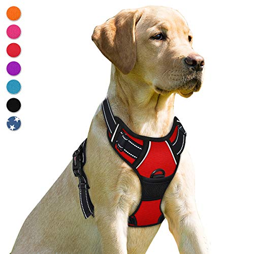 BARKBAY No Pull Dog Harness Front Clip Heavy Duty Reflective Easy Control Handle for Large Dog Walking(Red,L)