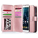 J.west Note 3 Case, Galaxy Note 3 Case, Note 3 Wallet Case,Pu Leather Case Magnet Wallet 9 Credit Card Holder Flip Cover Case Built-in 9 Card Slots Case for Samsung Galaxy Note 3 N9000 (Rose Gold)
