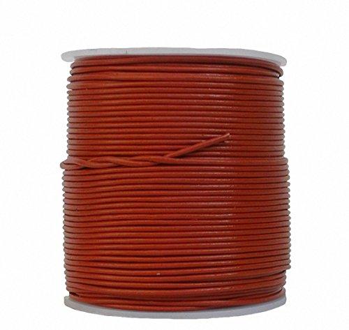 Ensuite eindeloos geitenlederen riem rol cognac, voor leren sieraden, leren armbanden, lengte 100 m, Ø 1,5 mm