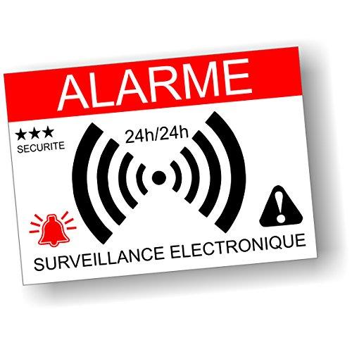 Decooo.be - Autocollants dissuasifs Alarme - Surveillance électronique - Lot de 10 - Dimensions 7,4 x 5,2 cm