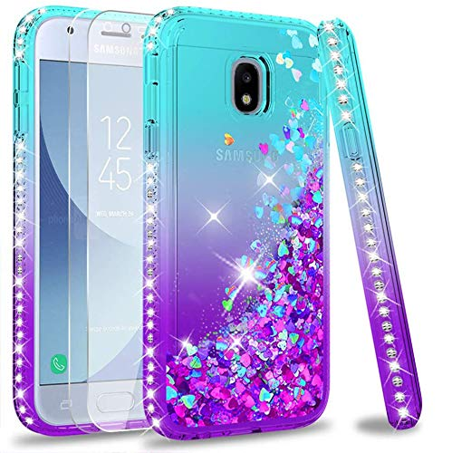 LeYi Compatible with Funda Samsung Galaxy J3 2017 Silicona Purpurina Carcasa con...