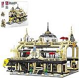Modular City House Modern European Train Station Catedral Model Building Blocks, 3950 Bloques de sujeción Modelo de arquitectura de casa
