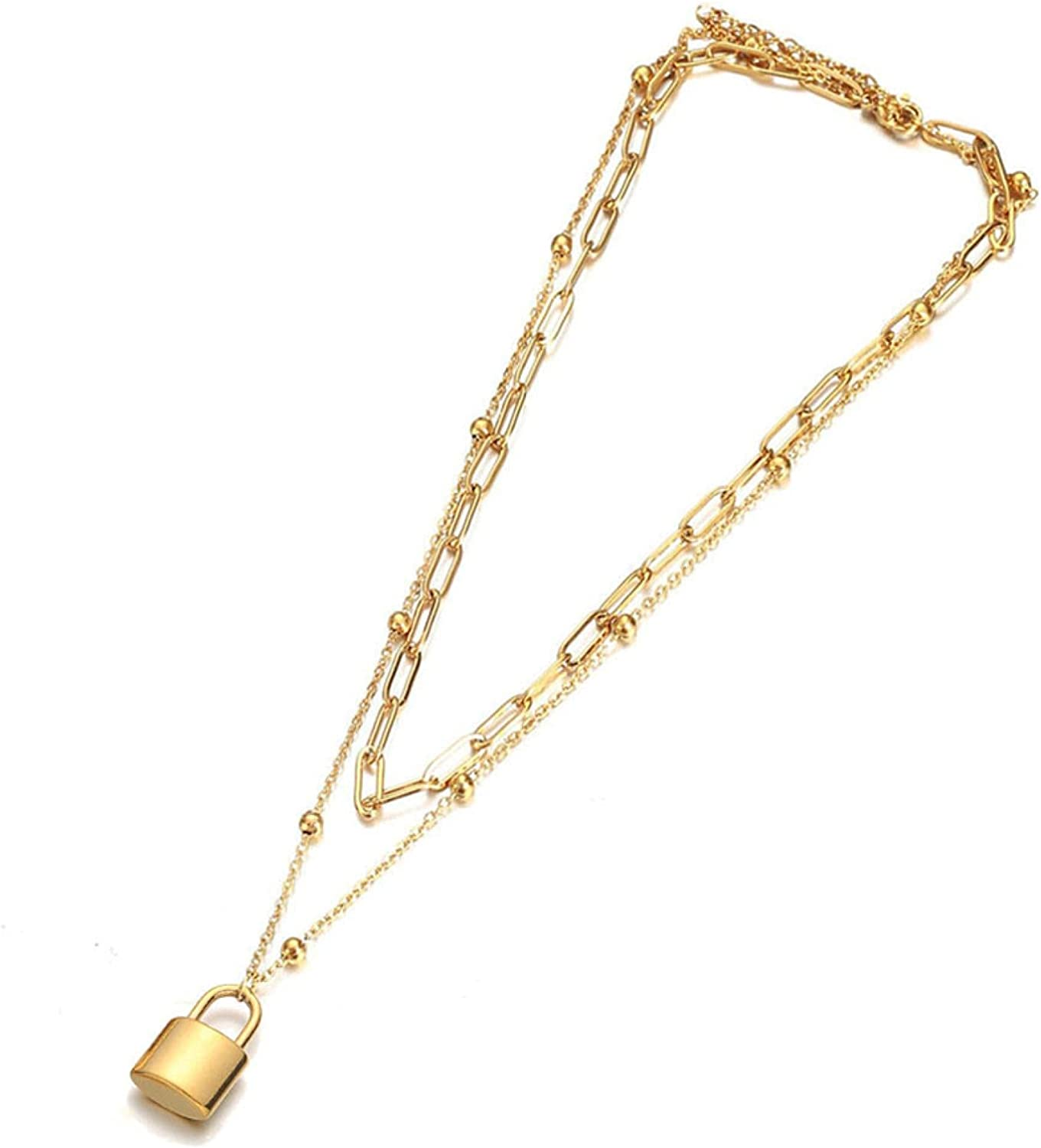 Punk Multilayer Chains Gold Color Stainless Steel Heart Pendant Choker Necklaces for Women Collar Jewlery