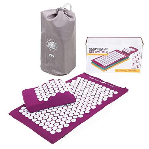 Preisvergleich Produktbild BODHI Akupressur-Set Vital: Akupressurmatte (74 x 44cm) & Akupressurkissen,  inkl. Tasche,  zur Selbstmassage,  Entspannung,  Förderung der Durchblutung (aubergine)