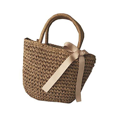 Thumby dames handtassen van rietje schoudertas eenvoudig handgemaakte damestassen strandtassen van rotan met strik 35 x 14 x 27 cm