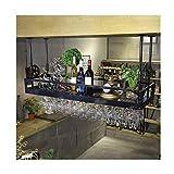 ZYLZL Wine Rack,Wall-Mounted,Bar, Restaurant, Wine Bottle Rack, Industrial Grid Metal Shelf,Rack Bar Shelf Hanging Storage Shelf For Restaurants,Black,100X35Cm