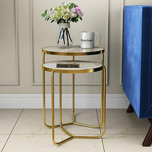 Wooden Street Marble Top Nesting Bedside End Coffee Tables for Living Room, Bedroom & Home Decoration