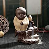 Little Monk Incense Burner Waterfall, Stick Incense Burner Holder Ceramic Backflow Incense Burner with 10pcs Incense Cones (Yellow)