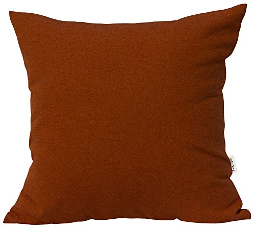 TangDepot Solid Wool-Like Throw Pillow Cover/Euro Sham/Cushion Sham, Super Luxury Soft Pillow Cases - Handmade - Many Colors & Sizes Avaliable - (12'x12', Burnt Orange)
