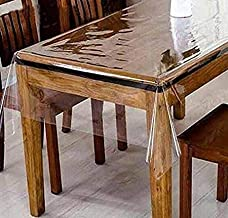 Linens And More Clear Plastic Tablecloth PVC Transparent- Perfectly Protect Your Table (60'' X 90'' Oval)