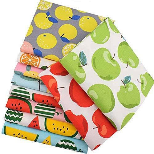 Ibalulu 10 piezas 50 x 40 cm tela de algodón por metros para coser, patchwork, tela para patchwork, tela DIY, mezcla de frutas.