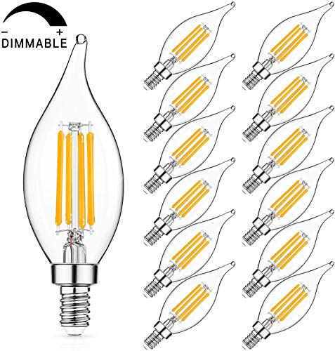 Dimmable E12 LED Candelabra Bulbs 60W Equivalent, LED Chandelier Light Bulbs 6W, 2700K Soft White 600LM CA11 Flame Tip Vintage LED Filament Candle Bulb with Decorative Candelabra Base, Pack of 12